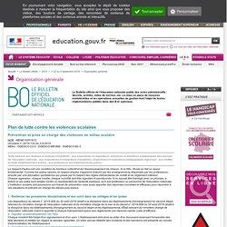 Violence scolaire_MENE1925181C: Plan de lutte contre les violences scolaires_circulaire n° 2019-122 du 3-9-2019_MENJ