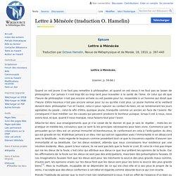 Lettre à Ménécée (traduction O. Hamelin)