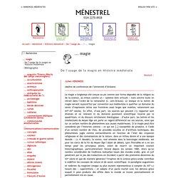 Ménestrel > Editions Ménestrel > De l'usage de... > ... magie