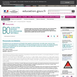 Conditions de recrutement et d'emploi des agents contractuels recrutés pour exercer des fonctions d'enseignement,