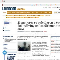 DocentesConectados:bullying 21 menores se suicidaron a causa del bullying en los últimos cinco años