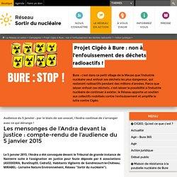 Les mensonges de l'Andra devant la justice: compte-rendu de l'audience du 5 janvier 2015