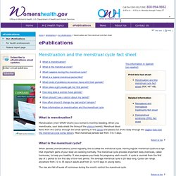 Menstruation and the menstrual cycle fact sheet
