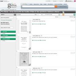Pro Alesia : revue mensuelle des fouilles d'Alise et des questions relatives à Alesia / ... - - Presse et revues - 13 résultats dans Gallica