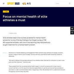 Focus on mental health of elite athletes a must