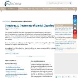 Mental Disorders & Conditions - DSM