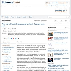 Poor mental health 'both cause and effect' of school exclusion