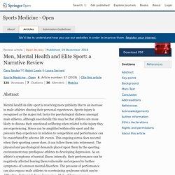 Men, Mental Health and Elite Sport: a Narrative Review