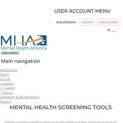 Mental Health Screening Tools