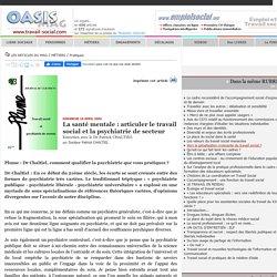 La santé mentale : articuler le travail social et la psychiatrie de secteur - OASIS - Le Portail du Travail Social