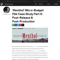 'Menthol' Micro-Budget Film Case Study Part 6: Post-Release & Post-Production