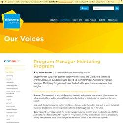 Program Manager Mentoring Program ›› Philanthropy Australia