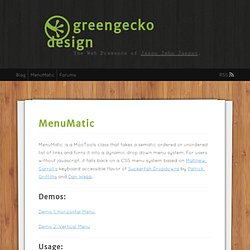 +++MenuMatic | greengecko design