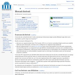 Mercati derivati - Wikiversità