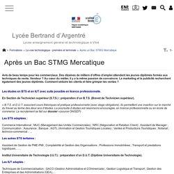 Après un Bac STMG Mercatique - Lycée Bertrand d'Argentré