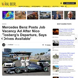 Mercedes Benz Posts Job Vacancy Ad After Nico Rosberg's Departure - Viralbeer