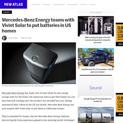 Mercedes-Benz Energy teams with Vivint Solar to put batteries in US homes