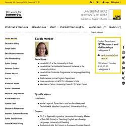 Sarah Mercer - ELT Research and Methodology