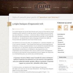 5 règles d'ergonomie, web design et e-merchansing internet, Le Carnet d'une aventurière du Web