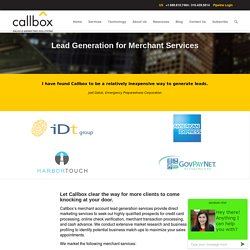 Sales Lead Generation for Merchant Services - Merchant Account Leads