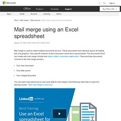 Mail merge using an Excel spreadsheet - Word