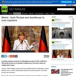 Merkel : toute l'Europe sera touchée par la crise migratoire