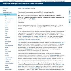 Ancient Mesopotamian Gods and Goddesses - Anunna (Anunnaku, Anunnaki) (a group of gods)