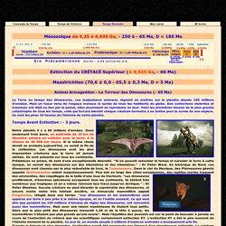 L' Histoire du Temps -> Terrestre -> Mésozoïque : Ere secondaire -> Extinction du Crétacé <-