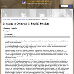 Message to Congress in Special Session