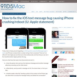 How to fix the iOS text message bug causing iPhone crashing/reboot (U: Apple statement)