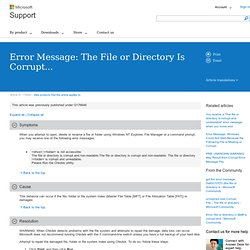 Error Message: The File or Directory Is Corrupt...