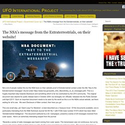 The NSA's message from the Extraterrestrials, on their website!