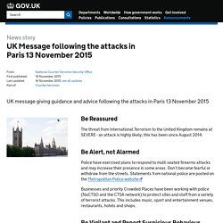UK Message following the attacks in Paris 13 November 2015