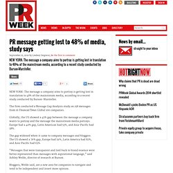 PR message getting lost to 48% of media, study says