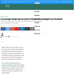 Le message simple que les profs et les parents partagent sur Facebook