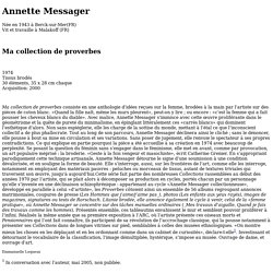 Annette Messager:Ma collection de proverbes