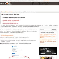 Le compte de messagerie d'Outlook.com et ses options