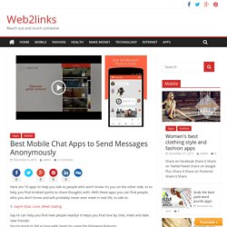 Best Mobile Chat Apps to Send Messages Anonymously - Web2links