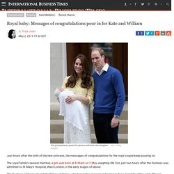 Royal baby: Messages of congratulations pour in for Kate and William
