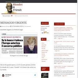 MESSAGGIO URGENTE — Blondet & Friends