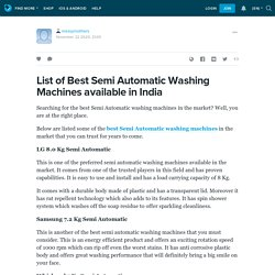 List of Best Semi Automatic Washing Machines available in India