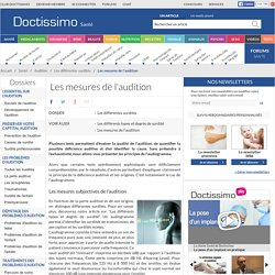 Mesures de l'audition - diagnostic de surdité