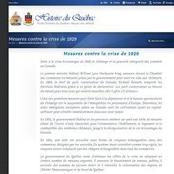 Mesures contre la crise de 1929 « Histoire du Québec