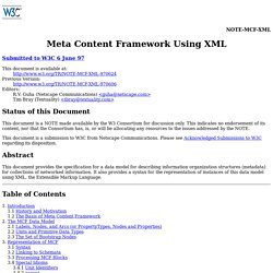 Meta Content Framework Using XML