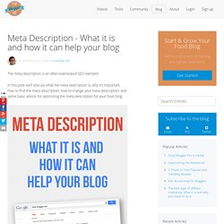 Meta Description - What it is and how it can help your blog