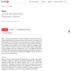 Meta : Journal des traducteurs – Érudit