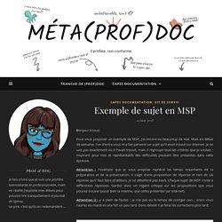 Exemple de sujet en MSP