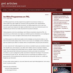 les Méta-Programmes en PNL