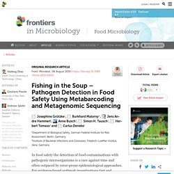FRONT. MICROBIOL. 06/08/19 Fishing in the Soup – Pathogen Detection in Food Safety Using Metabarcoding and Metagenomic Sequencing