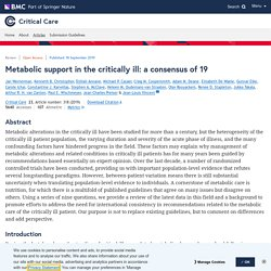 Metabolic support in the critically ill: a consensus of 19